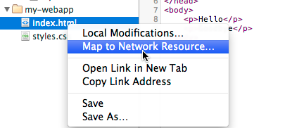 Context menu showing Map to Network Resource option