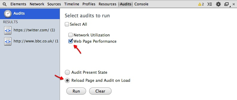 google chrome audits
