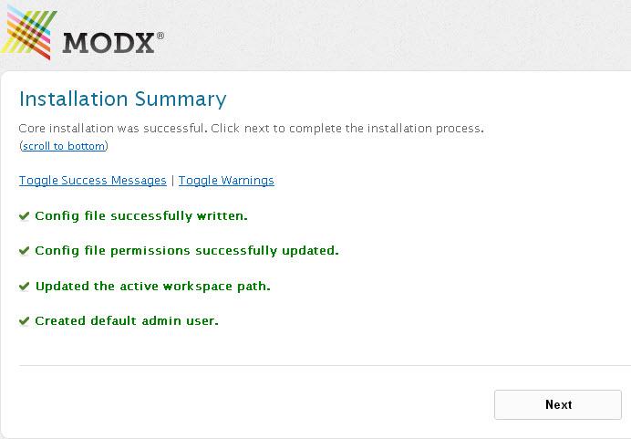 Установка MODX Revolution прошла успешно