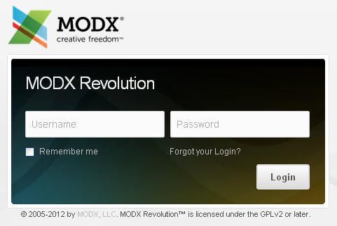 Вход в админку MODX Revolution